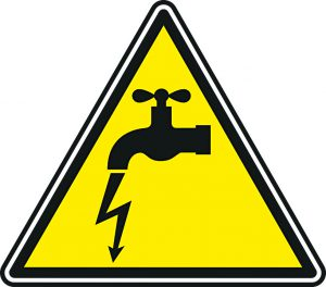 Danger sign with faucet with electric volt coming out