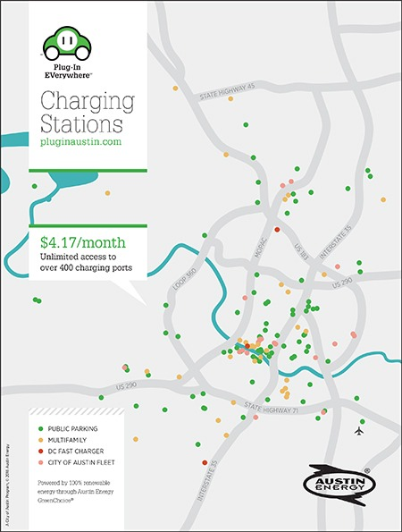 Electric Vehicle Charging Station Map in Austin Energy Service Area