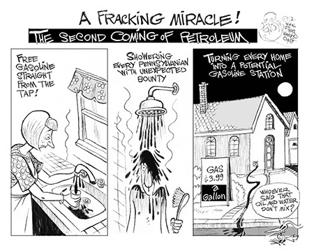 Fracking Cartoon with oil coming out of faucets